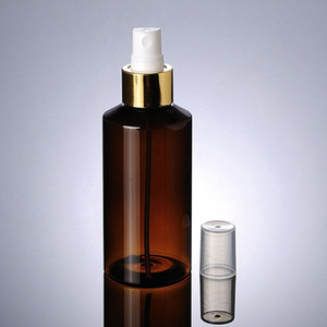 150ML Empty Makeup Spray Pump Brown Plastic Bottle With Gold Aluminum Collar Perfume Cosmetic PET Bottle Container