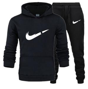 Mens Survêtement Sportswear Tuta Uomini Set Qualità Fleece Felpa + Pants giacca maschile Tuta sportiva tute con cappuccio