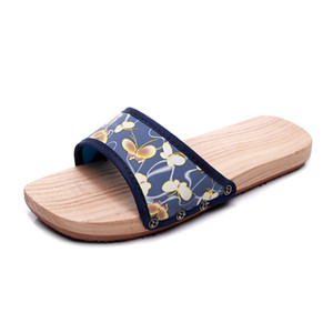 Japanese Geta Sandals bathroom Summer Sandals Men anti-skidding Flat Wooden Shoes Clogs Slippers Flip-flops Lacquerless