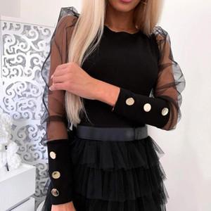 Женщины плечо сетки рукав Тонкого пассив Кнопка Блуза манжета Черные и белого Tops 2020 Summer Sexy O-образный вырез рубашки