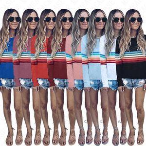 Women Pullovers Striped Hoodie Long Sleeve T shirt Summer Autumn Spring Tees Tops Sweatshirt Girls Hip Hop Blouse Hoodies hot Sale D71514