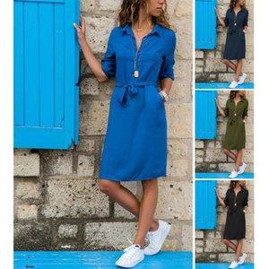 Casual Kleider Frühling Sommerkleid 2021 Damen Revers / Kragen Massivfarbe Getreide Sleeve Schärpen Boho Beach Femme ETE