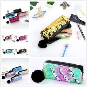 16 Styles Mermaid Sequins Makeup Pouch For Women Cute Pencil Case Student Zipper Clutch Handbag Cosmetic Storage Bag Pencil Bags