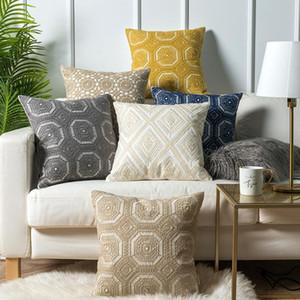 Azul Cushion 18in bordado tampa Círculo Floral Lace Cinzento Amarelo Khaki Marfim lona de algodão Sofá Praça Home Decor fronha 45x45cm