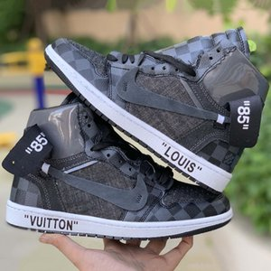 Off White x Nike Air Jordan 1 Custom Basketball-Schuhe Fragment Luxus Designer Chicago White UNC Retro-Turnschuhe Trainer Männer Sportschuhe