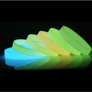 De silicona de goma luminosa Sweat pulseras pulseras de silicona se divierte la venda mujeres de los hombres de los brazaletes de baloncesto de 8 colores