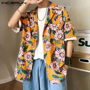INCERUN Summer Men Flower Printed Hawaiian Shirt Short Sleeve 2020 Breathable Vacation Casual Lapel Blouse Streetwear Camisas