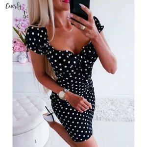 Women Summer Boho Account Bohemian Dresses Front Polka Dot Dress Square Collar Puff Sleeve Bodycon Pencil Dress