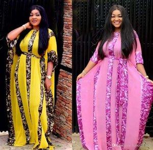 Kadınlar dashiki Pembe Afrika Giyim Bazin Broder Riche Seksi Ruffle Kol Robe Akşam Uzun Elbise için Bedava Gemi Afrika Elbiseler