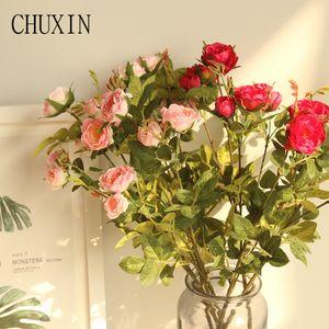 5 head rose artificial silk flower home living room decoration fake flower wedding road lead bride bouquet Plants wall