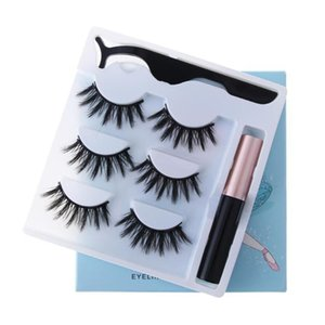 3 Pairs Magnetic Eyelashs set Magnet Liquid Eyeliner& Magnetict Waterproof Long Lasting Eyelash Extension