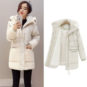 Lusumily Winter Jackets Women Cotton Coat Padded Medium Long Hooded Parkas Female Plus Size 3XL Warm Wool Snow Outerwear Clothes