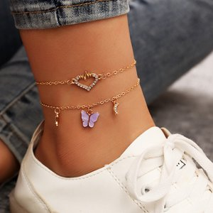 2020 Bohemian Hollow Heart Butterfly Anklets For Women Vintage Handmade Tassel Beads Beacch Anklet Bracelet Leg Foot Bracelet Jewelry