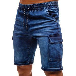 Casual ICPANS Mens Shorts Verão Jeans carga Shorts Man Elasticidade Slim Fit Azul motociclista Bermuda jeans curta Masculino