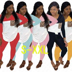 2020 Kadınlar Eşofman Uzun Kollu Patchwork Renk Kıyafetler Hoodie Bluz Kazak ve Pantolon Tayt İki Adet Pijama Casual Sport SuitD71604
