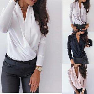 Женская сексуальная Ruched блузка рубашки осень Твердая с длинным рукавом Пуловер Элегантный Повседневные Тонкий Основные Рубашки Топы Dropshipping