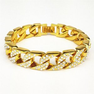 Cuban Link Chain Mens Full Diamond 14mm épais surdimensionnée Hip Hop Bracelet en or Zircon Bracelet pour Male1 TiFo #