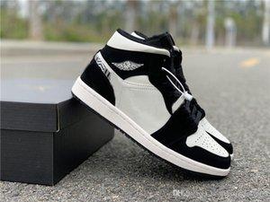 Venda Hot alta OG 1 Mid BHM Tint Homens Bas Calçados casuais 852542-010 Shoes Branco Preto Esportes Tamanho 5.5-12