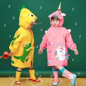 NqC64 Çocuk ceket boysgirlsbaby anaokulu Schoolbag Cloak yağmur dişli Dinozor Yağmurluk birincil sc için sevimli pelerin tarzı schoolbag panço