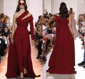 elie saab Burgundy Prom Dresses Women Jumpsuits with Overskirt One Shoulder Long Sleeve Satin Red carpet celebrity evening Formal Gowns