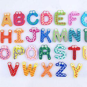 26 Lettre aimant pour réfrigérateur animaux A-Z Autocollants magnétiques en bois Alphabet aimant bébé Jouets d'enfants jardin Décoration LXL802