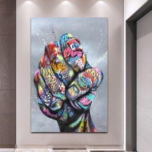 Résumé Graffiti peinture Amant mains peinture sur toile Affiches et sérigraphies Wall Art pour le salon Home Decor (No Frame)