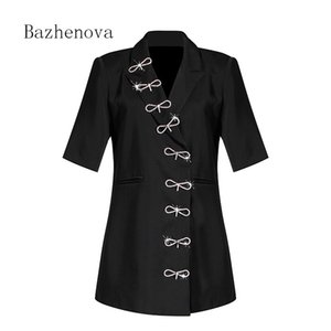 Bazhenova Early Autumn Unique Design Ladies Short-sleeved Suit Elegant Solid Color Bow Tops Personalized Girl Clotheswomen R464