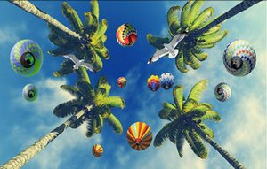 Foto feita sob encomenda atacado- wallpaper murais de teto papel de parede 3D céu azul nuvens brancas coqueiros bonitas aves marinhas ensolarados murais Zenith