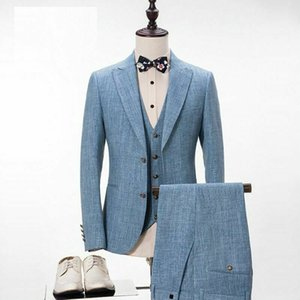 Mens Suits 2020 New Wedding Tuxedos Handsome Two-Button Peaked Lapel Groom Suit Custom Made Slim Fit Three-Piece Suit Best Man Wear