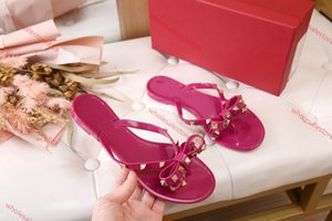 xshfbcl New Summer Women Flip Flops Slippers Flat Sandals Bow Rivet Fashion Pvc Crystal Beach Shoes