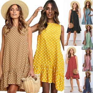 Casual verano agitan el punto vestido sin mangas de la calle volante playa de las mujeres vestidos de partido del O-Cuello del lunar mini vestido Vestido de tirantes Vestidos