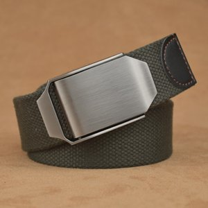 Men's Canvas Belt Smooth Buckle Automatic Buckle Belts Hot Male Tactical Belt Top Quality 3.8 Cm Wide Casual Outdoor Strap