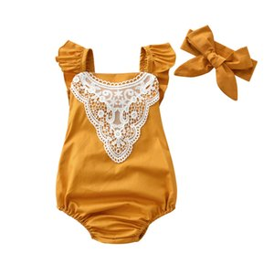 2020 Summer Hot Sale Newborn Clothes Baby Girl Rompers Sleeveless Lace Jumpsuit+Headband 2 Pcs Infant Clothing Set Outfits
