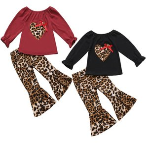 Fashion Baby Girls 2 Piece Clothing Sets Kids Clothing Autumn Flare Sleeve Leopard Heart with Bow Tops + Flare Pants Leopard 2 Piece Outfits