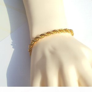 J &Quot ;Xuping &Quot ;High -Quality Mens Rope Bracelet 14 K Yellow Fine Solid Gold Gf 6mm Thick Twisted Braided Hip Hop