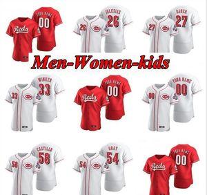 Cincinnati 2020 enfants Hommes Femmes Pedro Strop rouge Amir Garrett Scott Schebler Anthony Desclafani Ken Griffey Jr. Eugenio Suarez Maillots