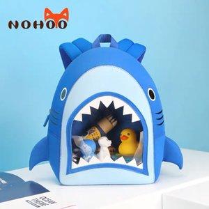 NOHOO School backpack boy Cartoon 3D shark blue children's bag waterproof Neoprene Light weight kindergarten School bag for kids T200709