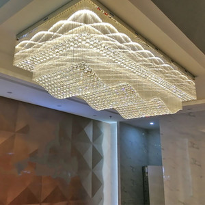 wave design large ceiling chandelier lighting crystal lamp AC110V 220v LED crystal foyer lights, hotel chandelier