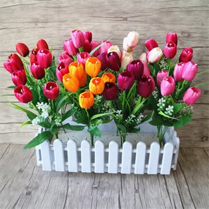 1 Bouquets 7Forks 7 Heads Silk Tulip Artificial Flowers With Green Leaves For Wedding Party Valentine's Day Home Decor