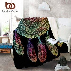 Yataklar Koltuk Renkli Yumuşak Atma Seyahat Manta TSBU # için BeddingOutlet Dreamcatcher Coral Polar Battaniye Bohemian Mandala Fanila Battaniye