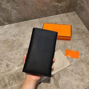 notas dobladas tarjeta de crédito de manera titular de la caja original de alta calidad monedero de cuero clásico y recibos de la carpeta del bolso del monedero de la caja de distribución Purs