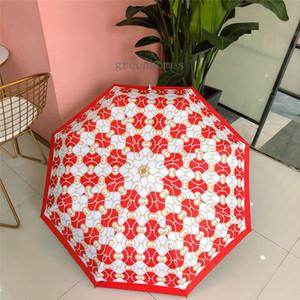 Printed Brief Red Umbrella New Style Folding Umbrella Einfache Monogramm-Druck-Regenschirm Fashion Branded 2020 Beliebte Artikel