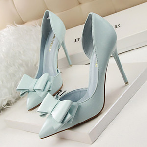 2020 Fashion Delicate Sweet Bowknot High Heel Shoes Side Hollow Pointed Women Pumps Pointed Toe 10.5CM thin Dress Shoes