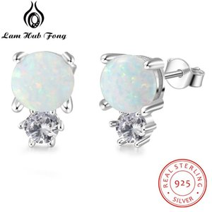 925 Sterling Stud Brincos para Mulheres bonito rodada White Opal brincos Chic coreana Fine Jewelry Gift (Lam Fong Hub)