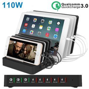 110W 8 Port Multi USB Charger per IPhone 11 PRO max Carregador Quick Charge 3.0 Fast Charger stazione del bacino per Samsung S20 s10 tablet PC