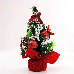 20cm Tall Tabletop Mini Artificial Christmas Tree With Ribbon Bow And Ball Ornaments Decorations For Home Office