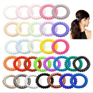 27colors Telephone Wire Cord Gum Hair Tie 5cm Girls Elastic Hair Band Ring Rope Candy Color Bracelet Stretchy Scrunchy MMA3114-A