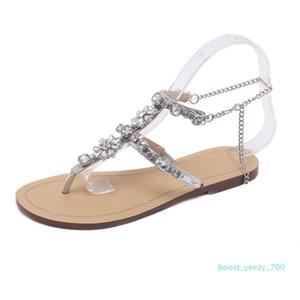 Hot Sale-Women Casual Crystal Sandals Rhinestones Chains Gladiator Flat Sandals Chaussure Plus Size Flat Platform Gladiator Feminino b70