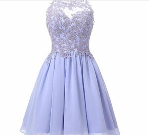 Lavender Homecoming Dress Short Chiffon Prom Dresses With Lace Applique Beaded Juniors Party Evening Formal Gowns Vestidos Cortos
