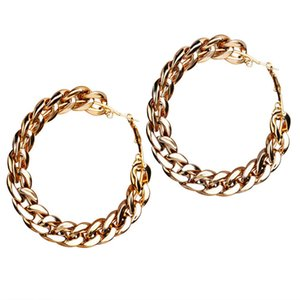 European and American cross-border new chain earrings for women girl creative vintage simple exaggerated gold alloy earrings